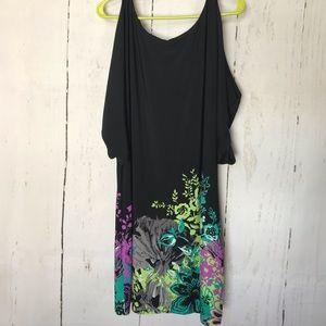 ADRIANNA PAPELL black floral cold shoulder dress
